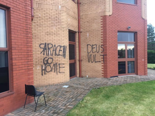 Mosque vandalised with quotes from the Crusades