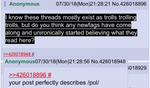 A self-reflection of an anon on 4chan. Derived from reddit.com/r/4chan.