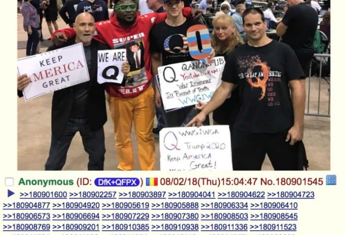 Q believers at a Trump rally