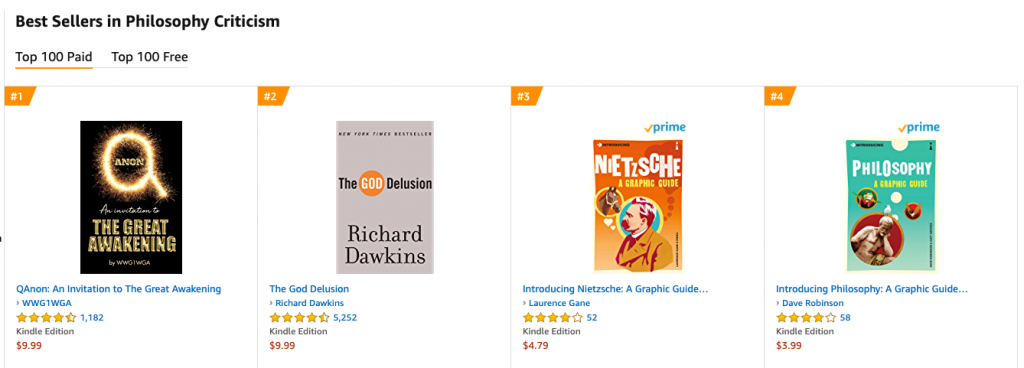 "Screenshot of ""QAnon: An Invitation to the Great Awakening"" by WWG1WGA appearing at the top of Amazon's rankings for Philosophy and Criticism, which seems to be the result of a campaign to game the algorithm"
