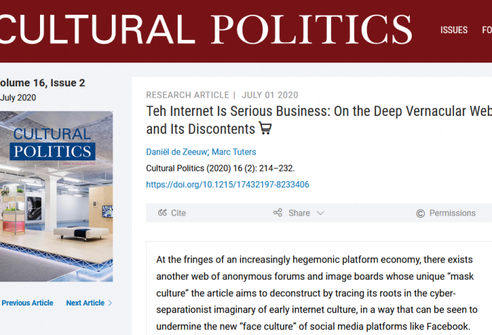 Teh Internet Is Serious Business - The Deep Vernacular Web