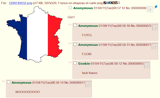 a major GET on /b/ by a Frenchman
